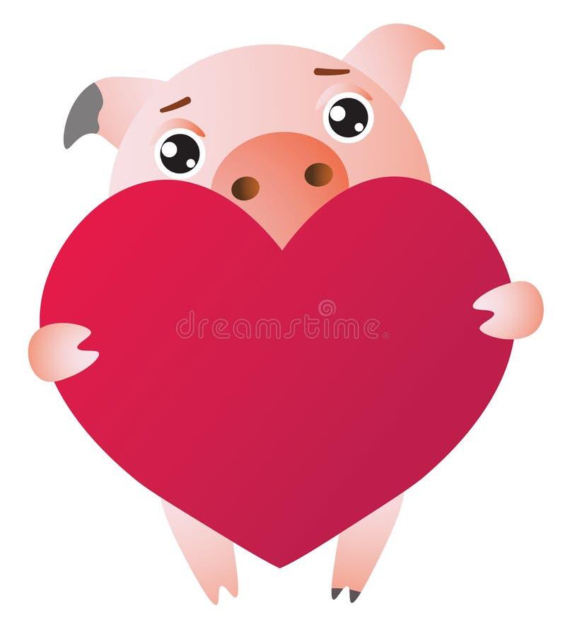 与红色夸大的心的逗人喜爱的动画片猪 也corel凹道例证向量 库存例证
