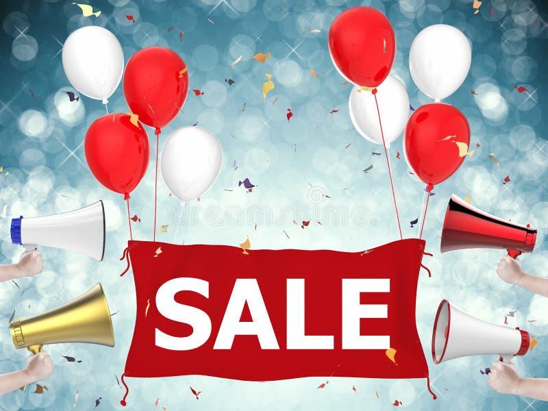 与红色布料和气球的销售横幅 向量例证