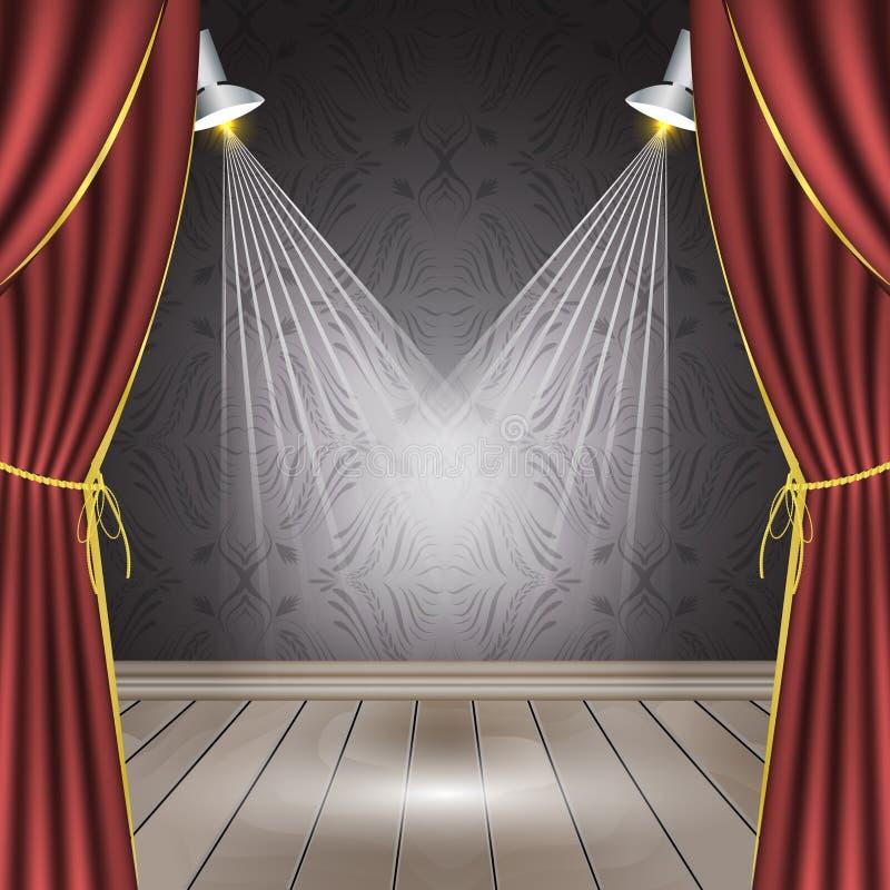 与红色帷幕、木地板、聚光灯和无缝的墙纸的剧院阶段 皇族释放例证