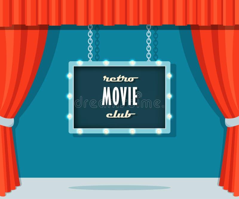 与红色帷幕和大门罩标志减速火箭的电影俱乐部的葡萄酒阶段 向量例证
