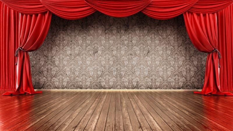 与红色帷幕和木条地板地面的剧院阶段 3d?? 皇族释放例证