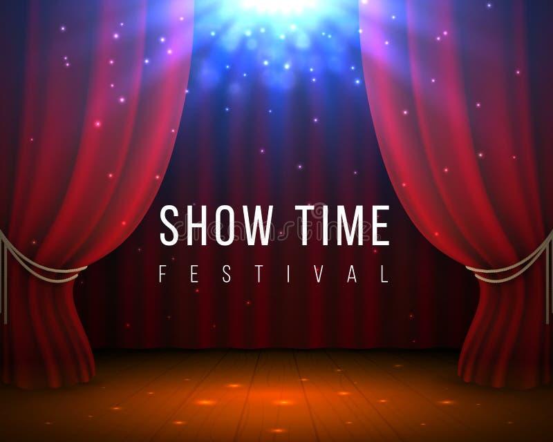 与红色帷幕的阶段 与红色的被关闭的戏院和歌剧背景装饰并且聚光 传染媒介3D典雅的背景 库存例证