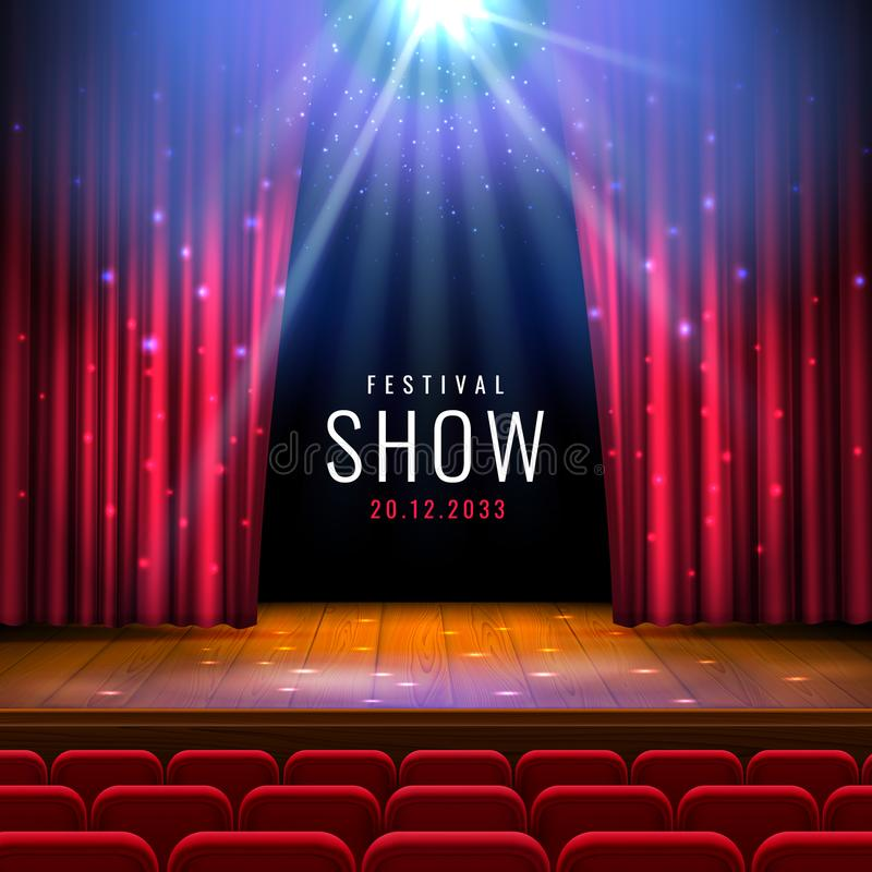 与红色帷幕,聚光灯,位子的剧院木阶段 与光和场面的传染媒介欢乐模板 海报设计为 皇族释放例证