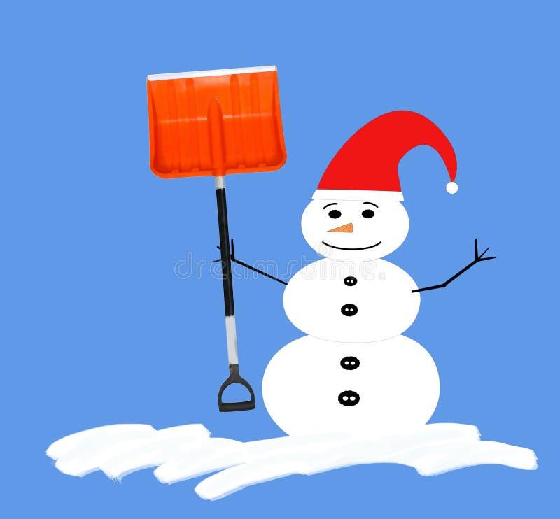 与红色帽子和铁锹的雪人 库存例证