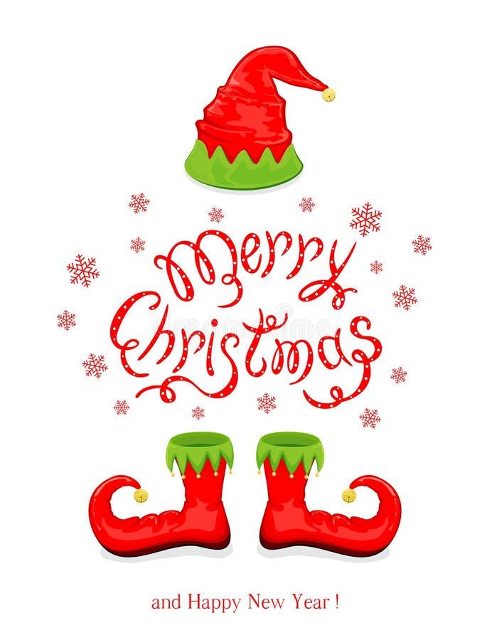 与红色帽子和鞋子矮子的圣诞快乐 向量例证