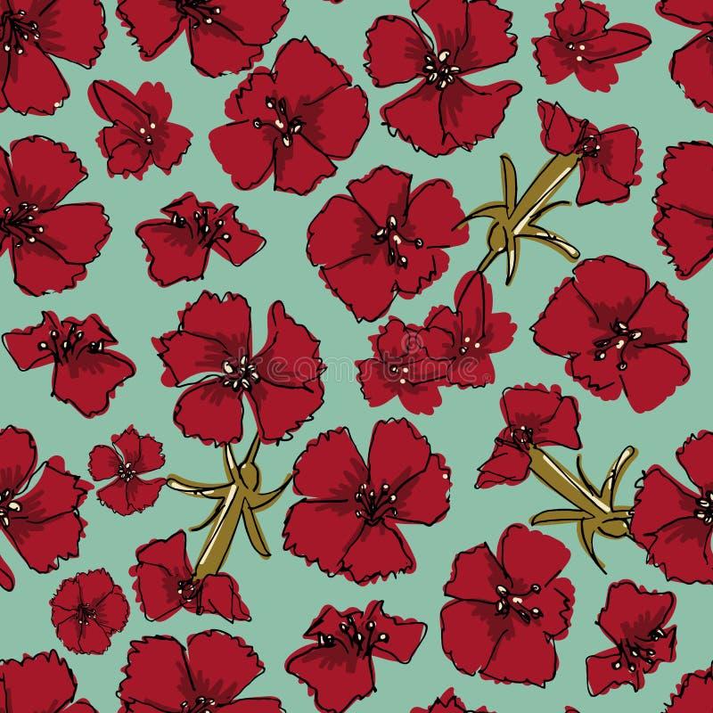 与红色康乃馨花的无缝的传染媒介样式 库存例证