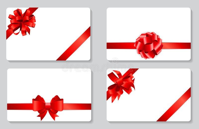 与红色弓和丝带集合传染媒介例证的礼品券 向量例证