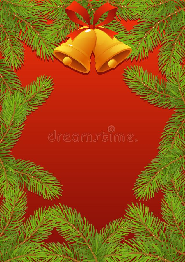 与红色弓和响铃新年框架的杉树分支 皇族释放例证