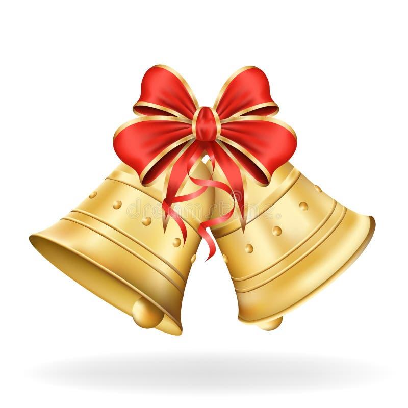 与红色弓的圣诞节铃声在白色背景。Xmas decoratio 皇族释放例证