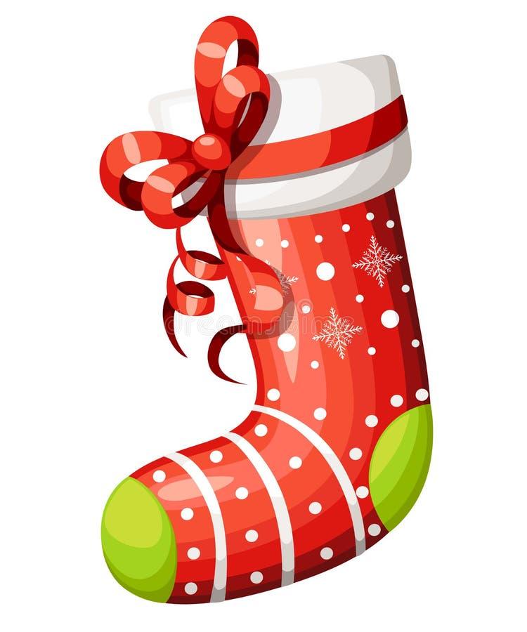 与红色弓的空的圣诞节长袜 与白色毛皮和补丁的装饰红色袜子 圣诞节的传染媒介例证 查出 库存例证