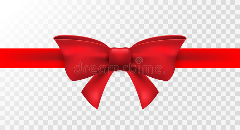 与红色弓的红色丝带 传染媒介假日礼物的被隔绝的弓装饰 卡片设计的礼物元素 免版税图库摄影