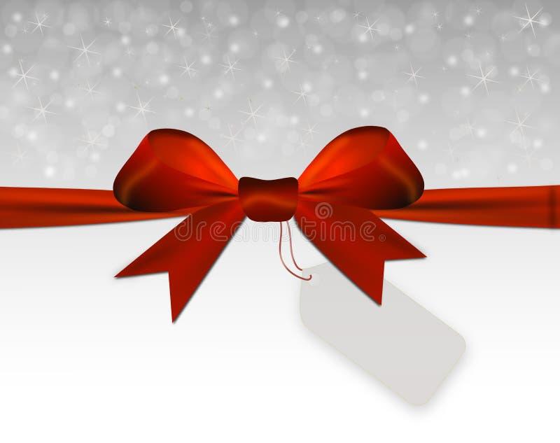 与红色弓的银色圣诞节背景与价牌 库存例证