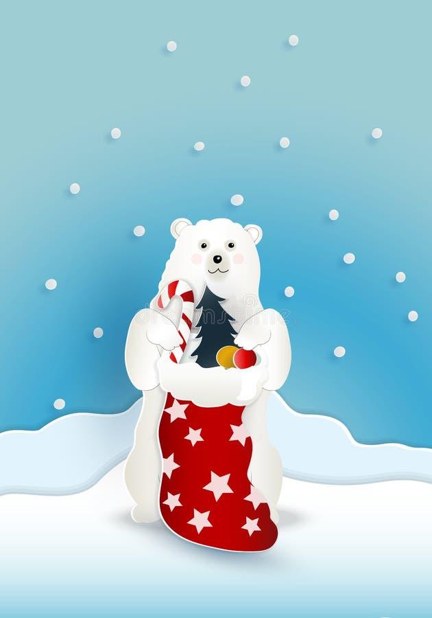 与红色当前大袋袋子的熊与落在蓝色backgro的雪 皇族释放例证