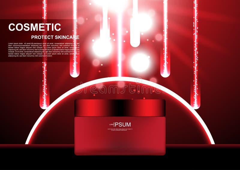与红色彗星和光的化妆奶油在红色背景vect 库存例证