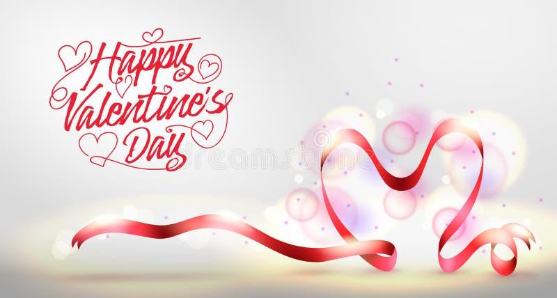 与红色心形的丝带的愉快的情人节问候横幅 向量例证