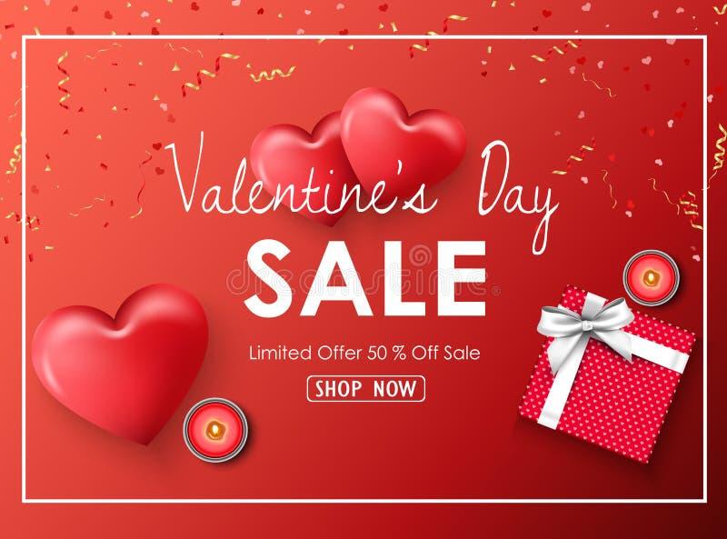 与红色心脏、礼物、蜡烛、金黄五彩纸屑和丝带的愉快的情人节销售横幅在红色背景 向量例证