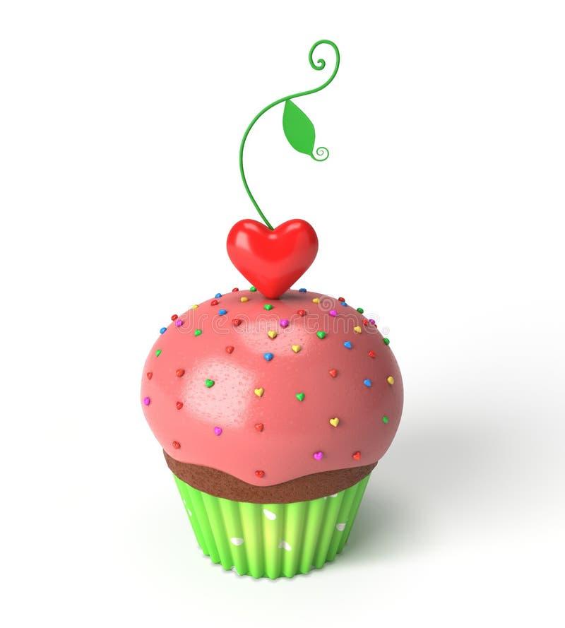 与红色心脏叶子的杯形蛋糕 库存照片