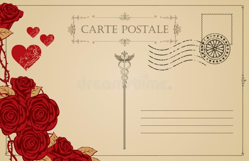 与红色心脏和玫瑰的葡萄酒明信片 皇族释放例证