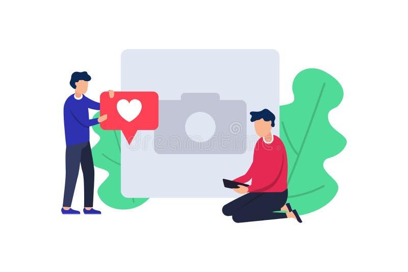 与红色心脏标志的社会媒介 使用智能手机的人们为网络和收集喜欢并且评论 向量 库存例证