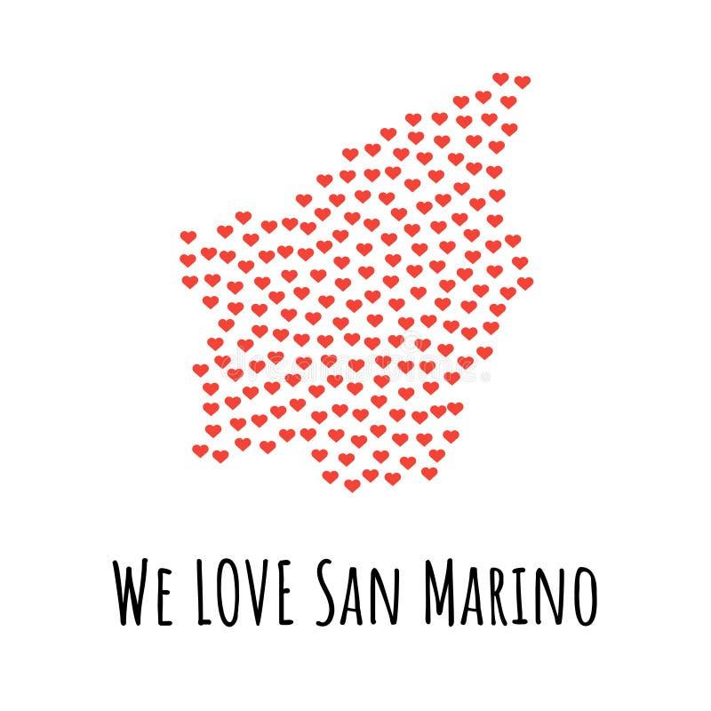 与红色心脏的圣马力诺地图-爱的标志 抽象背景 皇族释放例证