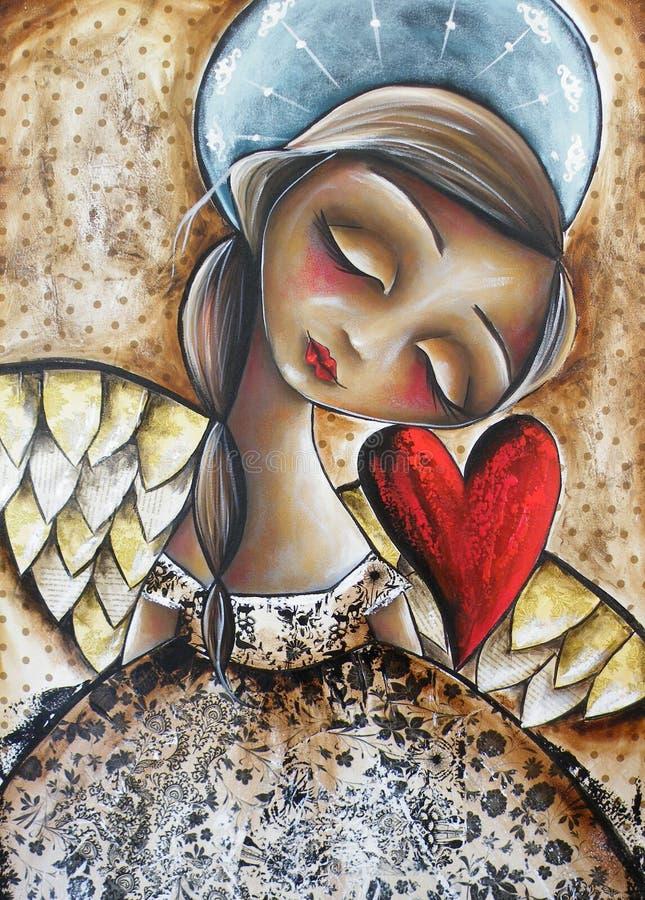 与红色心脏的天使 库存例证