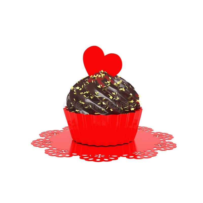 与红色心脏的巧克力在白色隔绝的杯形蛋糕和小垫布 皇族释放例证