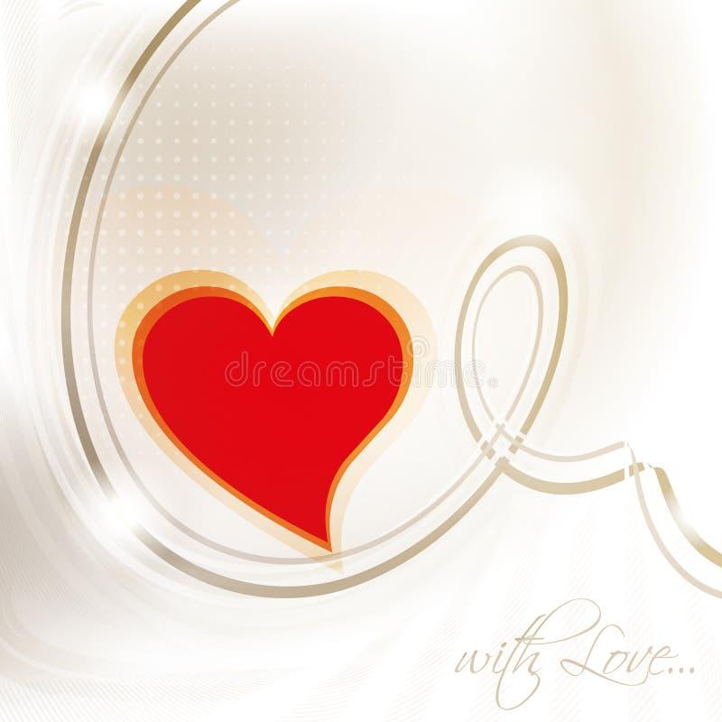 与红色心脏的情人节卡片 向量例证