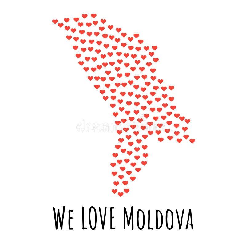 与红色心脏的摩尔多瓦地图-爱的标志 抽象背景 向量例证