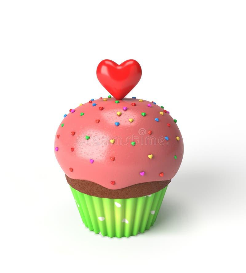 与红色心脏的杯形蛋糕 免版税图库摄影