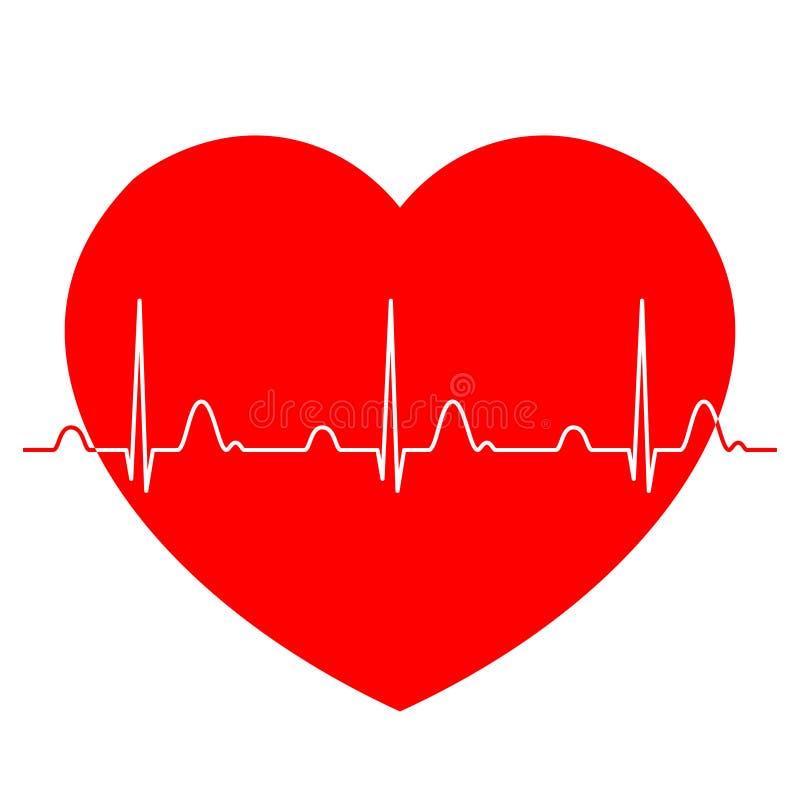 与红色心脏的正常ECG心电图 向量例证