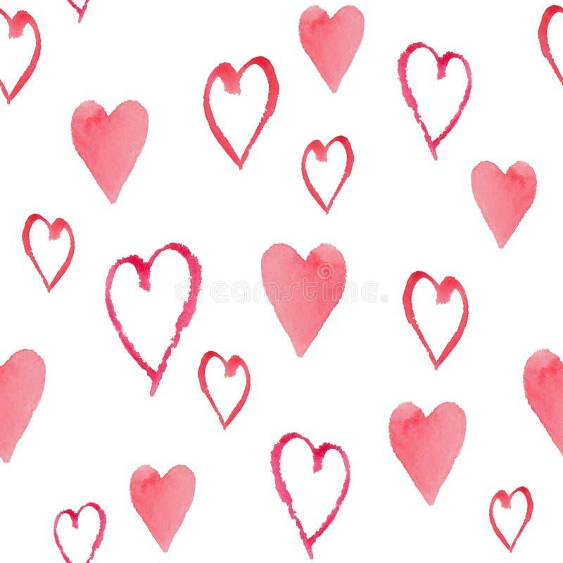 与红色心脏的水彩无缝的样式 库存例证