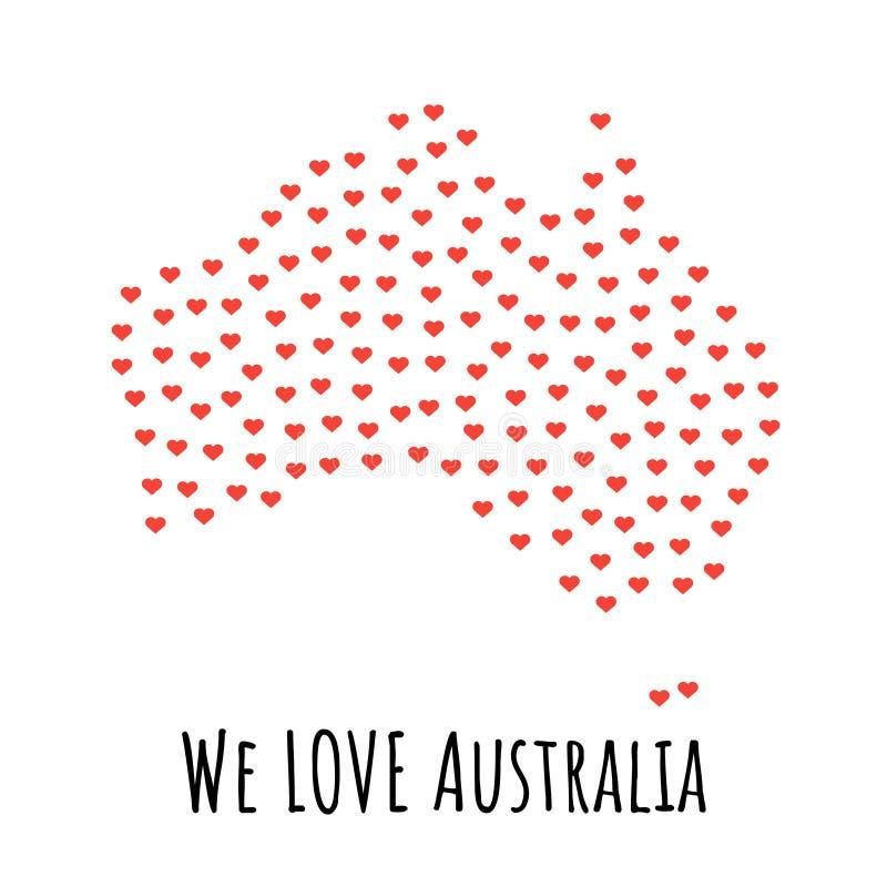 与红色心脏的澳大利亚地图-爱的标志 抽象背景 皇族释放例证