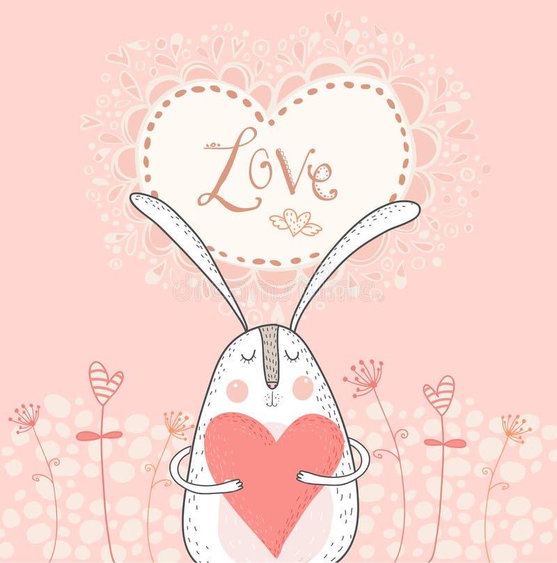 与红色心脏的爱兔宝宝 爱背景 在爱的兔子 库存例证