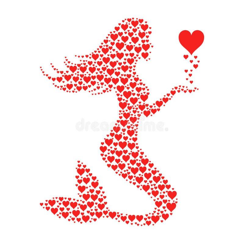 与红色心脏的美人鱼 库存例证