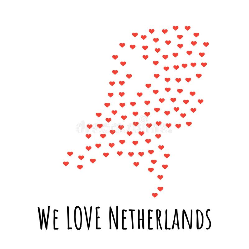 与红色心脏的荷兰地图-爱的标志 抽象背景 库存例证