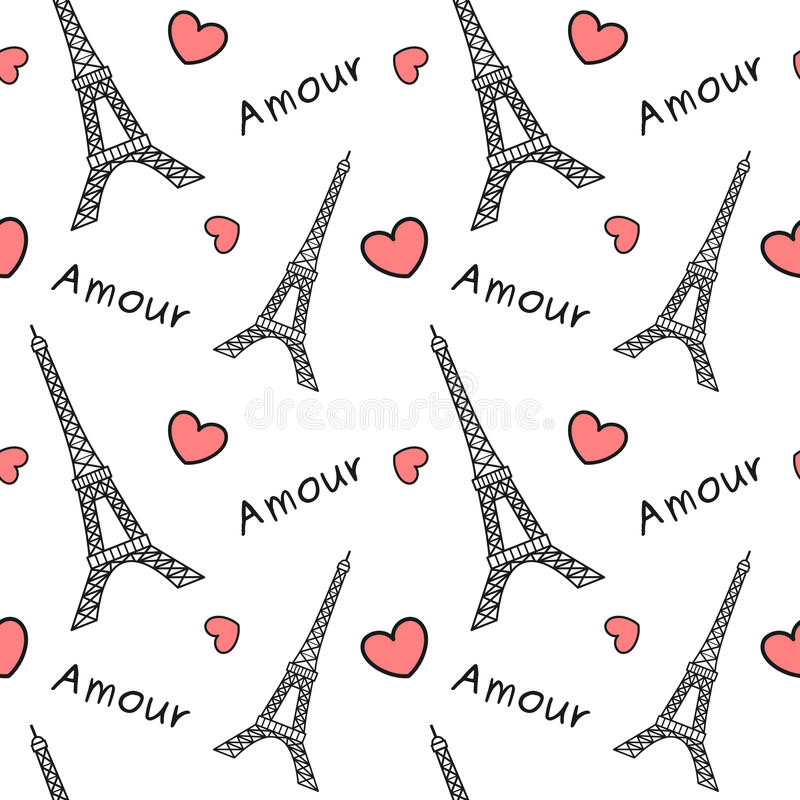 与红色心脏逗人喜爱的浪漫无缝的样式背景例证的黑白埃佛尔铁塔 库存例证