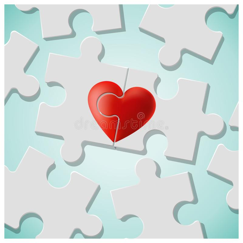 与红色心脏难题片断的真实的爱概念一起加入 库存例证