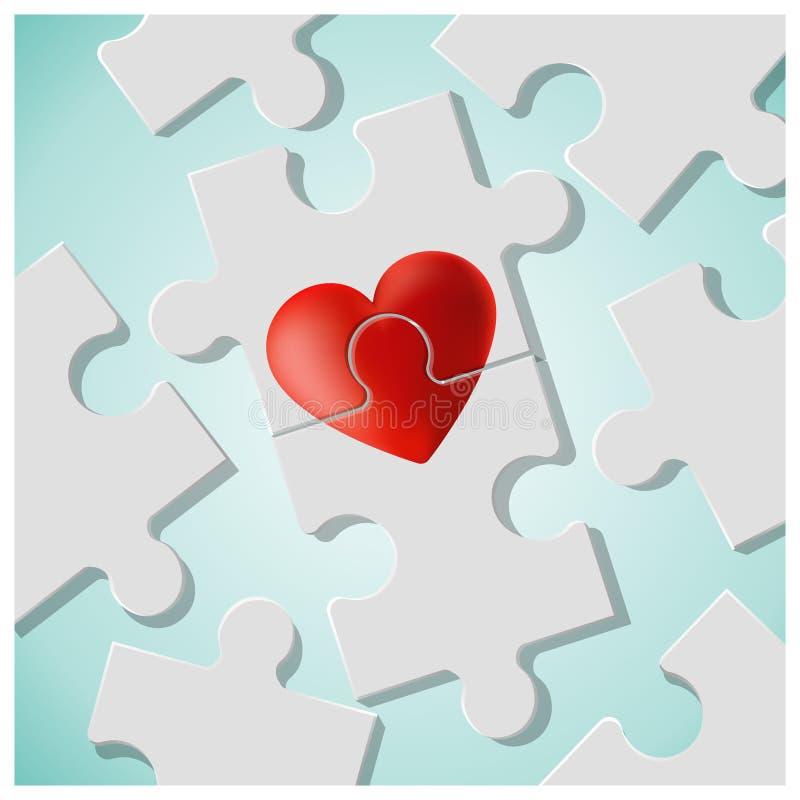 与红色心脏难题片断的真实的爱概念一起加入 向量例证