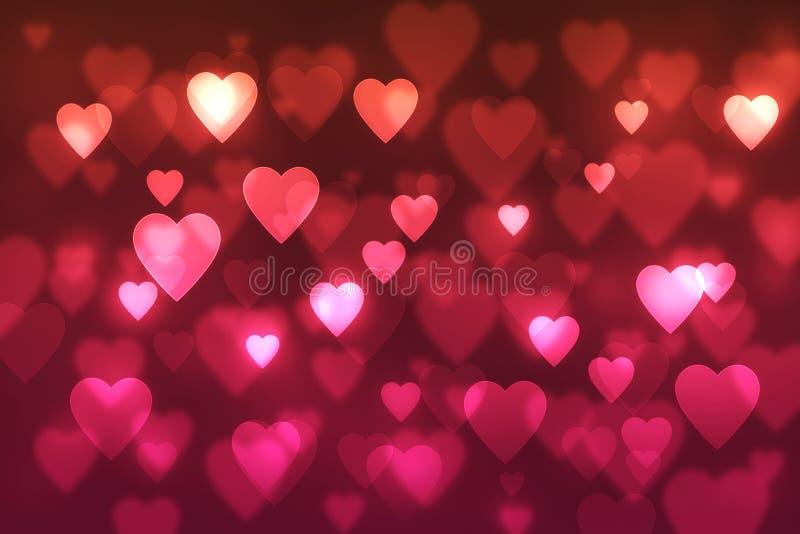 与红色心脏,恋人的被弄脏的bokeh背景,婚姻 免版税图库摄影