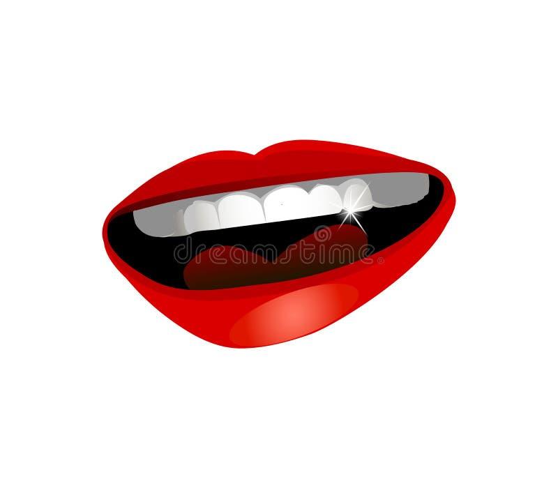 与红色性感的嘴唇和发光的白色牙3d现实象的美丽的微笑的开放嘴 库存例证