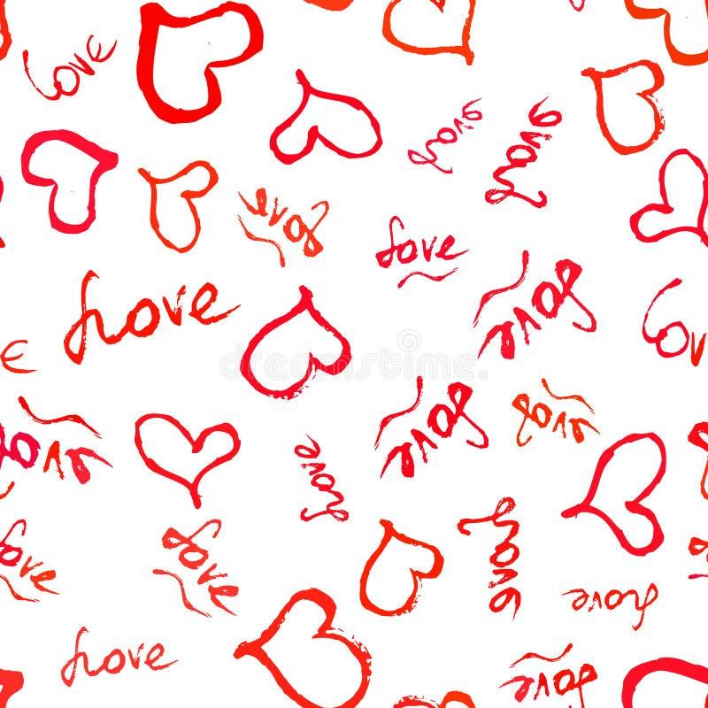 与红色手拉的心脏的无缝的样式 向量例证
