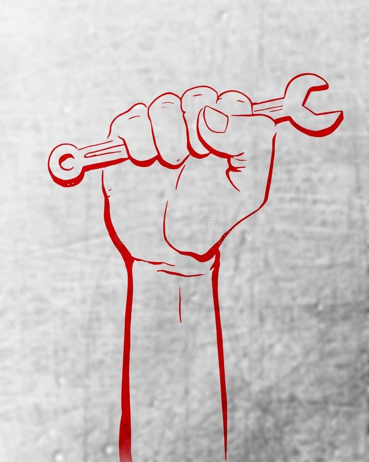 与红色手摘要背景白色纹理的劳动节劳动节白色背景 向量例证
