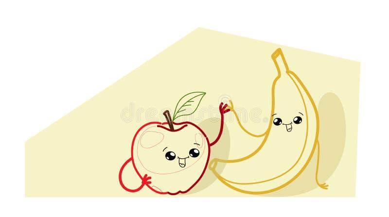 与红色新鲜苹果动画片喜剧人物笑容愉快的emoji kawaii手拉的样式的逗人喜爱的黄色香蕉 库存例证
