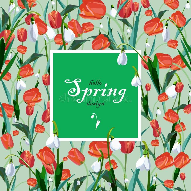 与红色春天郁金香和铃兰的贺卡 免版税库存照片