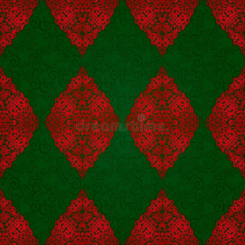 与红色有花边的装饰品的葡萄酒无缝的样式 向量例证