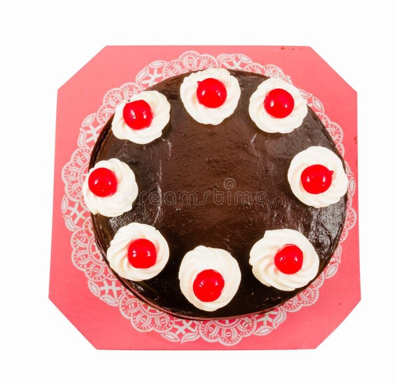 与红色果冻的巧克力蛋糕 免版税库存图片