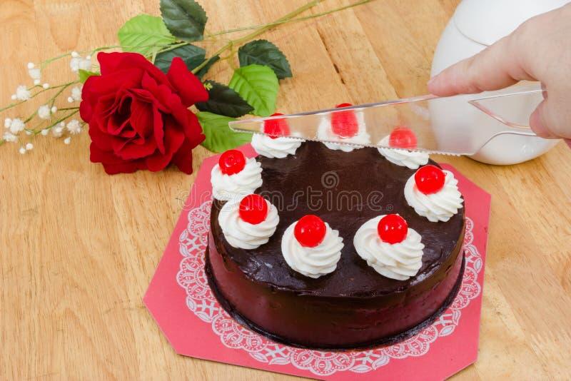 与红色果冻的巧克力蛋糕 库存照片