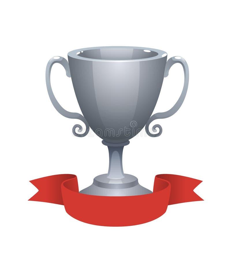 与红色标签的银色杯子战利品奖 第二个地方的奖 向量例证