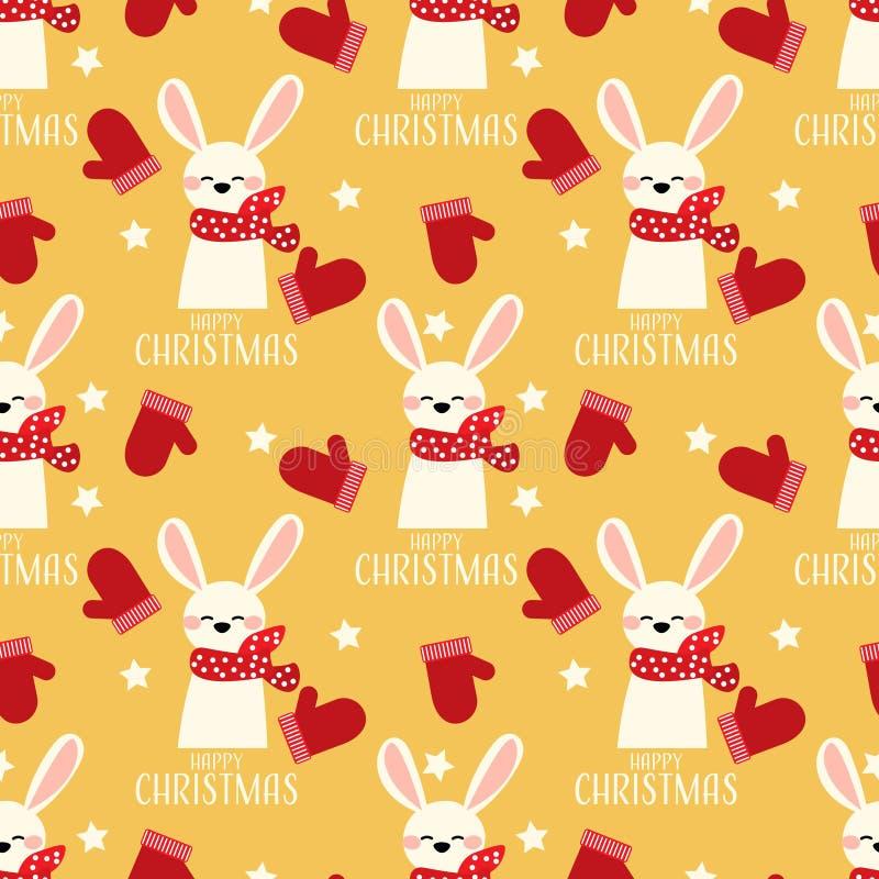与红色树丛的逗人喜爱的兔子,星和圣诞节快乐发短信给无缝的样式 库存例证