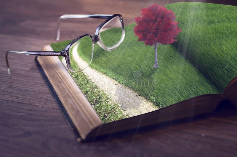与红色树和镜片的书 免版税库存图片